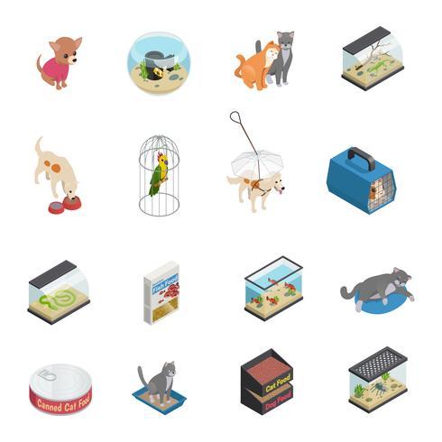 sällskapsdjur butik ikoner uppsättning vektor