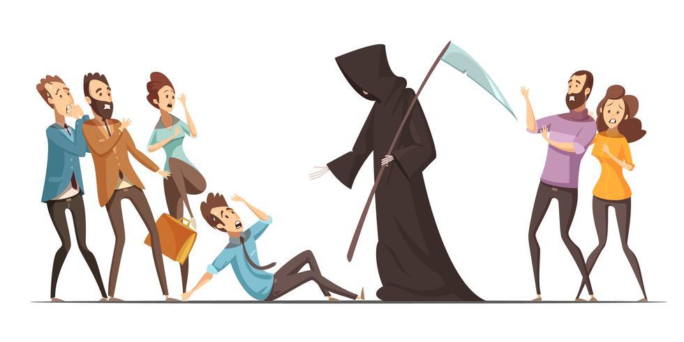 Death Fear Fobi Anxiety Cartoon Composition vektor