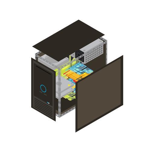 Isometrisk processorschema vektor