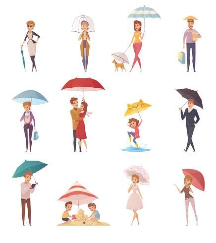 Människor står under paraply vektor