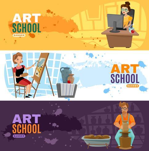 Art School Banner Set vektor