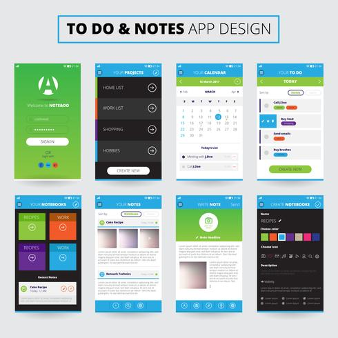 Anteckningar Mobile Apps Design vektor