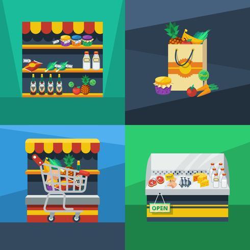 Supermarket 2x2 Flat Design Concept vektor