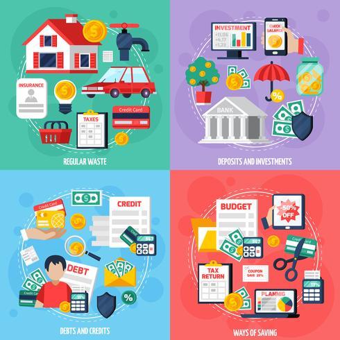 Persönliche Budget-Konzept-Icons Set vektor