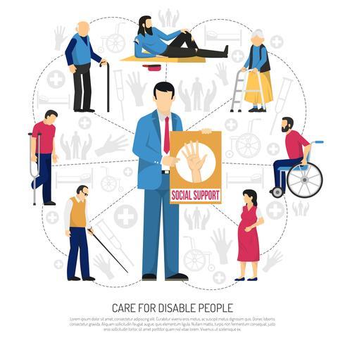 Socialt stöd för funktionshindrade personer vektor