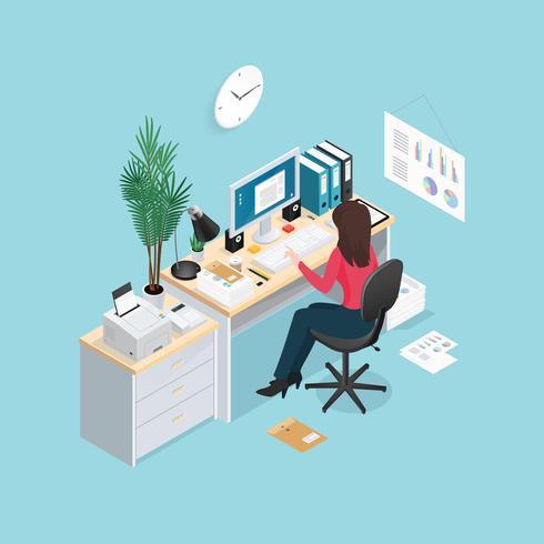 Isometrische Zusammensetzung des Büroarbeitsplatzes vektor