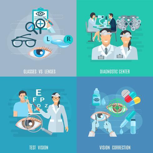 Augenarzt-Augenarzt 4 Flat Icons Square vektor