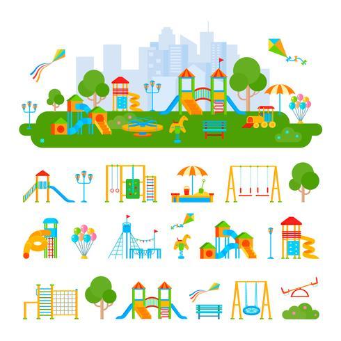 Barns lekplatskonstruktorkomposition vektor