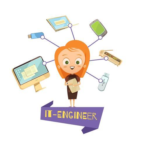 Karikatur-weibliche Figur des IT-Ingenieurs vektor