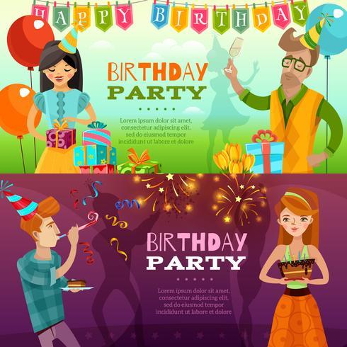 Födelsedagsfest 2 Festliga Horisontella Banderoller vektor