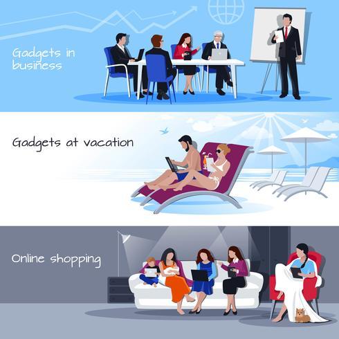 Gadgets I Business Vacation Shopping Banderoller vektor