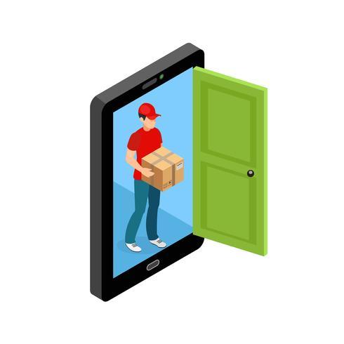 Lieferung Tür Bildschirm Konzept vektor