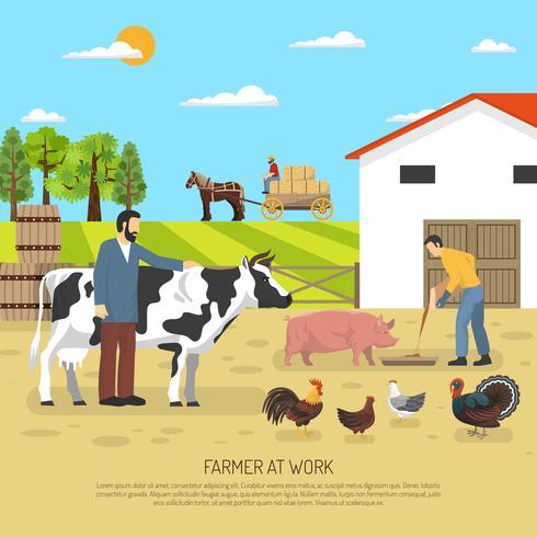 Landwirt bei der Arbeit Hintergrund vektor