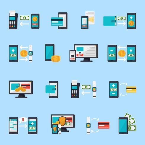 Mobile Commerce-Icon-Set vektor