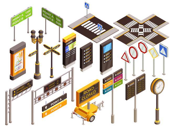 städtische Richtungszeichen gesetzt vektor