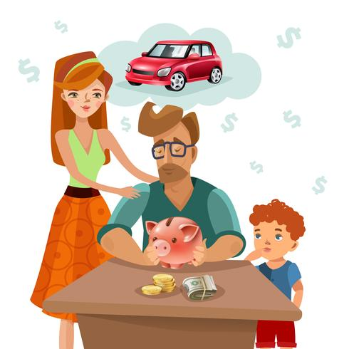 Familj Budget Finans Plan Plansch Poster vektor