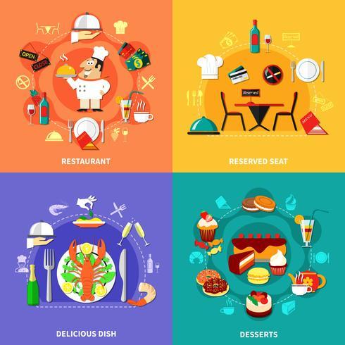 Lebensmittel-Spot-Kompositionen Set vektor