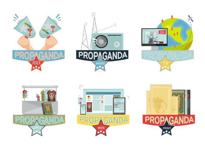 Propaganda-Icons gesetzt vektor