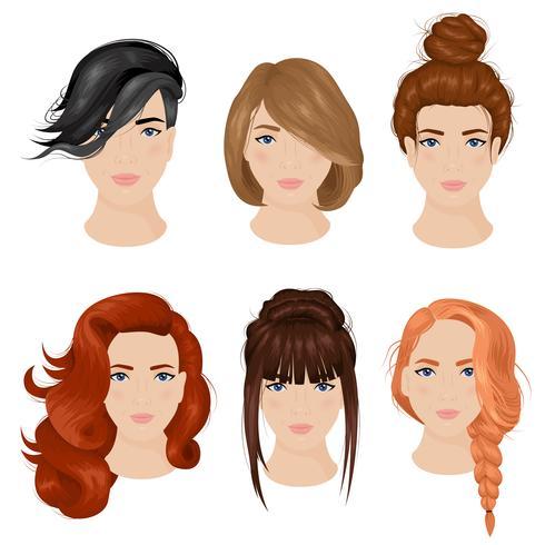 Frauen-Frisur-Ideen 6 Ikonen-Sammlung vektor