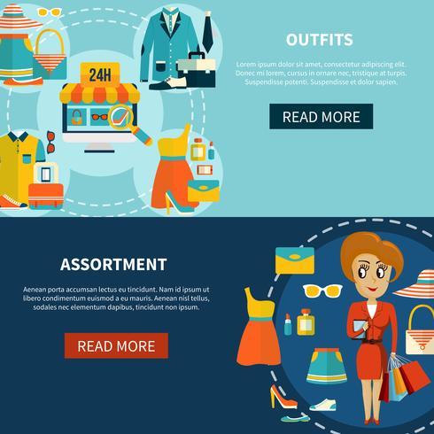 Online-Shopping-Sortiment Banner eingestellt vektor