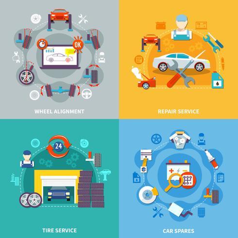 Auto Service 2x2 Design-Konzept vektor