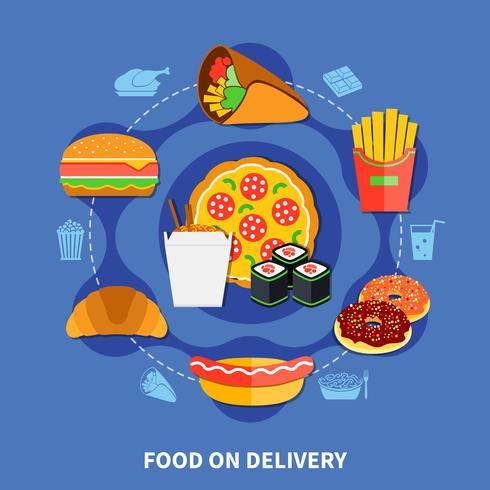 Fast Food Delivery Service Plattaffisch vektor