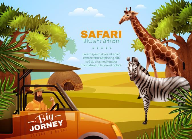 Safari färgad affisch vektor