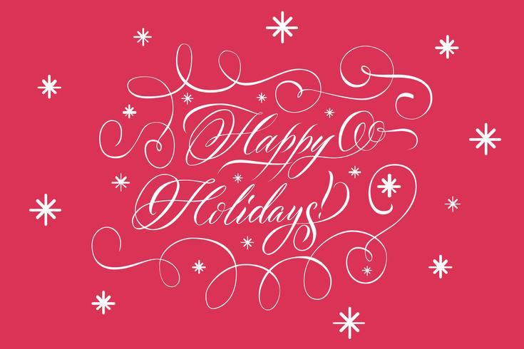 Beschriftung Frohe Feiertage Weiß auf Rot vektor