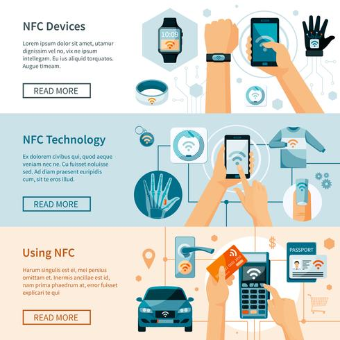Horizontale Banner der NFC-Technologie eingestellt vektor