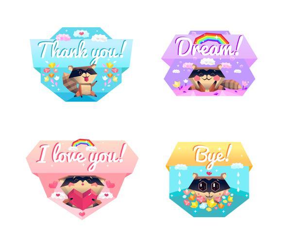 Raccoon Message 4 Cartoon Icons Composition vektor