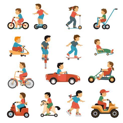 Kinder Transport Icons Set vektor