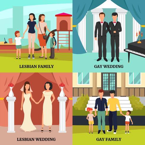 Homosexuella Familjekoncept Ikoner Set vektor
