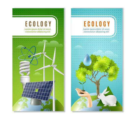 Ökologie Grüne Energie 2 Vertikale Banner vektor