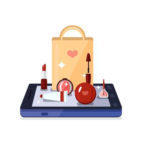 Beauty Shop Online Zusammensetzung vektor