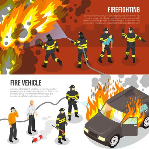 Feuerwehr horizontale Banner vektor