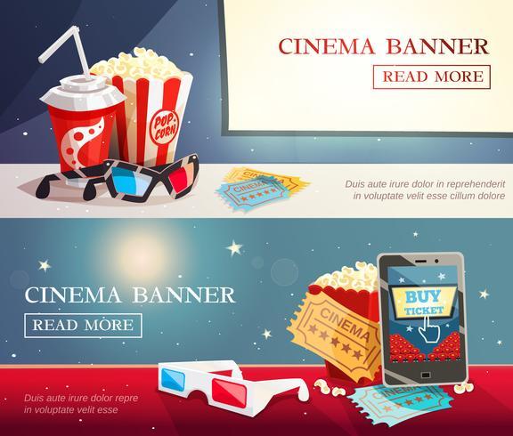 Cinema Entertainment Flat Horisontala Banderoller vektor