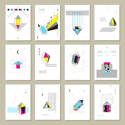 Polygonal Kristaller Mini Banners Collection vektor