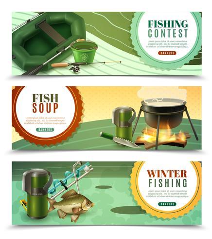 Fiske Sport Horisontell Banderoller Set vektor
