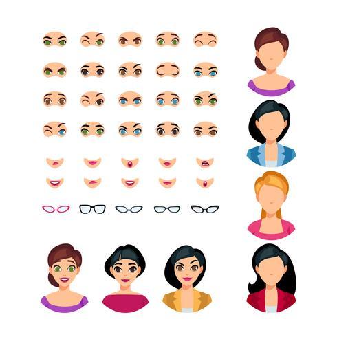 Girl Face Emotions Constructor vektor