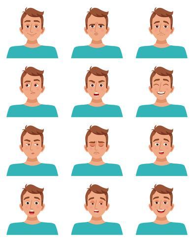 manlig ansiktsuttryck uppsättning vektor