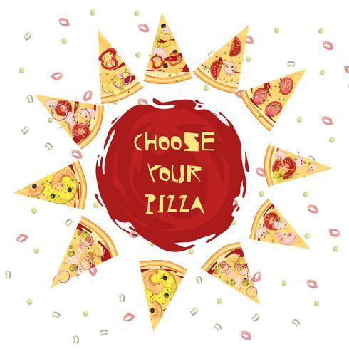 Val av Pizza Round Design vektor