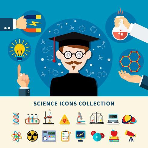 vetenskap ikoner samling vektor