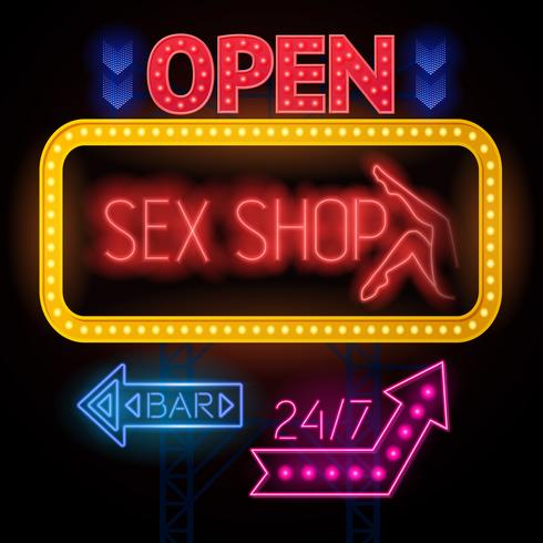 luminous sexshop teckenuppsättning vektor
