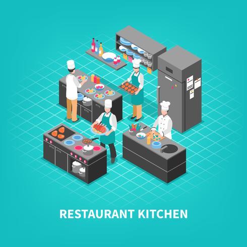 Food Court Kitchen Zusammensetzung vektor