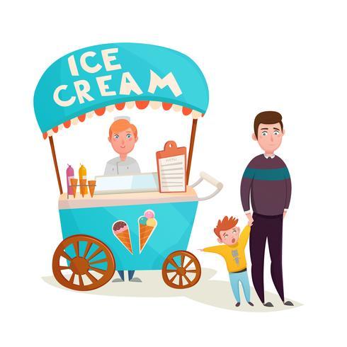 Kind nahe Eiscremeverkäufer-Karikatur vektor