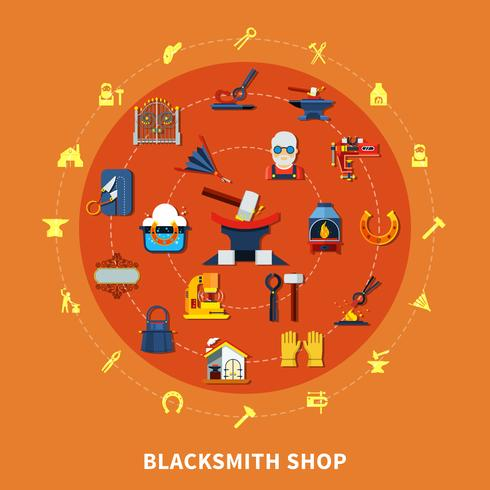 Blacksmith Shop Signs Sammansättning vektor