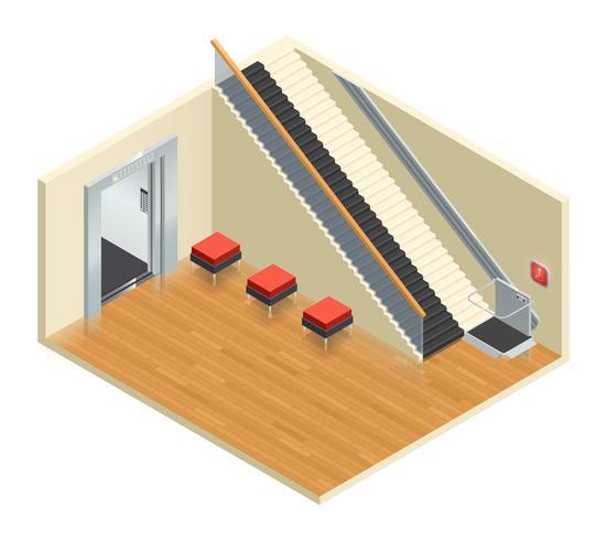 Treppenhaus-Aufzug isometrischer Innenraum vektor