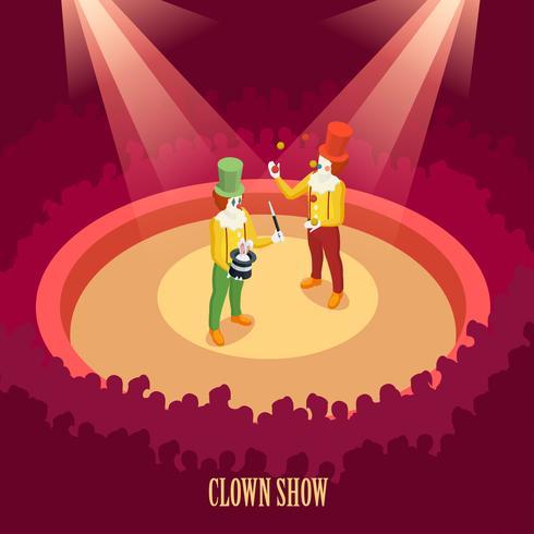Circus Clowns Visa isometrisk affisch vektor