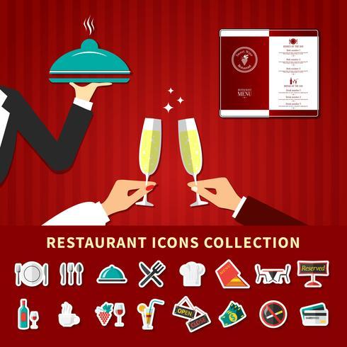 Restaurant Emoji-Ikonensatz vektor