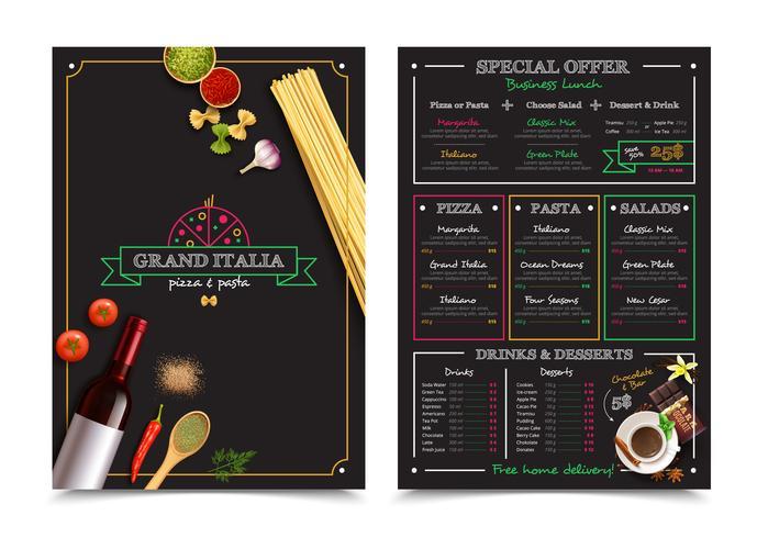 Italienisches Restaurantmenü mit Sonderangebot vektor